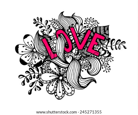 Valentines day love vector sketch hearts and flowers