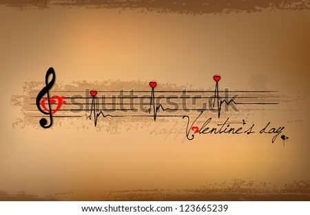 Valentines day, Music notes - stock vector