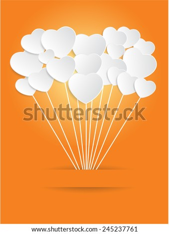Valentines Day of White Paper Heart on a Orange Background. Vector illustration - stock vector