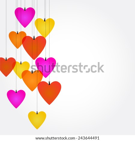 Valentines day  ornaments - colorful background - stock vector