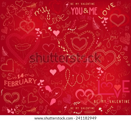 valentines day ornate background - stock vector