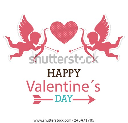 Valentines day over white background, vector illustration. - stock vector