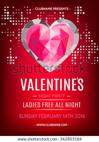 Valentines Day Party Flyer Design Ruby Stock Vector (2018) 362803184 ...