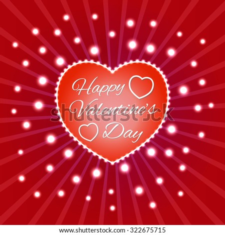 Valentines Day Party Flyer Design. Sign in heart with lights at circle lines background. Elements for greetings card, flyer and invitation templates. - stock vector