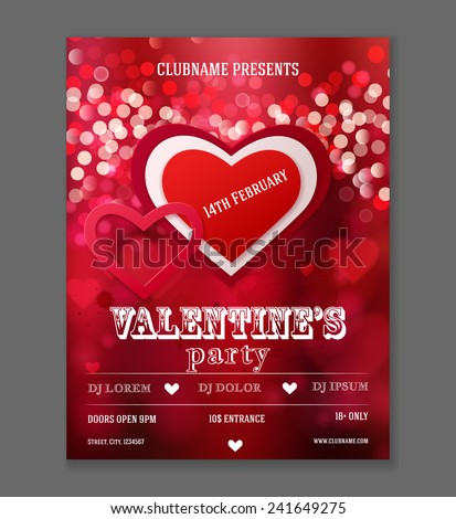 Valentines Day Party Flyer Design. Vector template of invitation, flyer, poster or greeting card. - stock vector