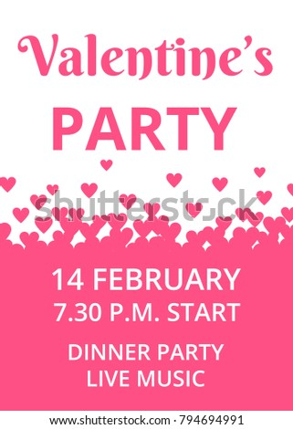 Invitation Cards For Ladies Party. Valentines Day Party invitation card with hearts border Invitation Card Hearts Stock Vector 794694991