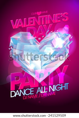 Valentines day party pink design with diamond heart. - stock vector