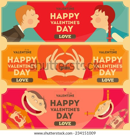 Valentines Day Posters Set in Cartoon Style. Horizontal format. Vector Illustration. - stock vector