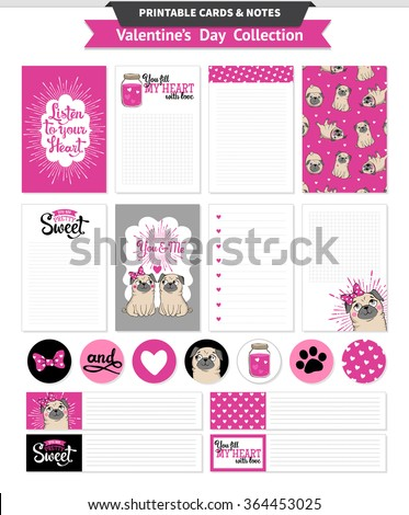 valentines day printable set with funny pugs and lettering vector printable cards notes