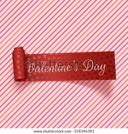Valentines Day realistic red festive Tag - stock vector