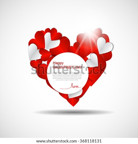 valentines day red background with dominant heard - stock vector