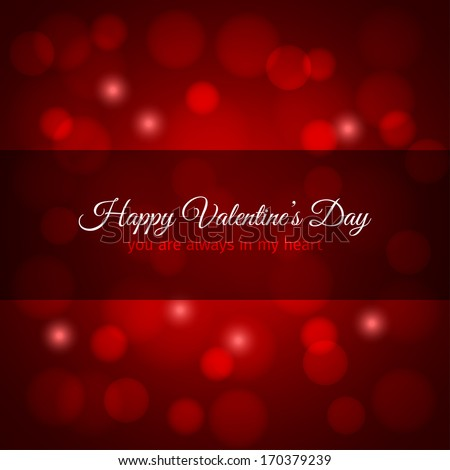 valentines day red lights vintage design background - stock vector