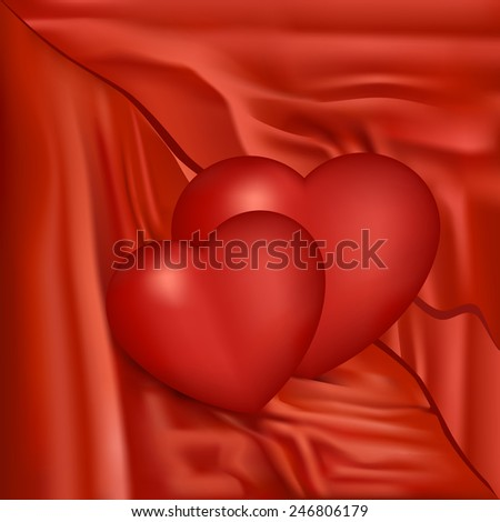 Valentines Day red satin composition with two hearts, vector, eps 10 - stock vector