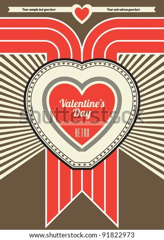 Valentines Day Retro Poster Design - Brown and Red - stock vector