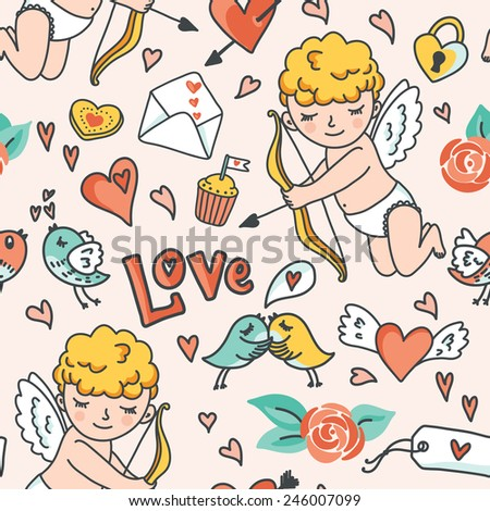 Valentines Day romantic seamless pattern. Cute Cupid, birds, envelopes, hearts and other design elements. Vector illustration - stock vector