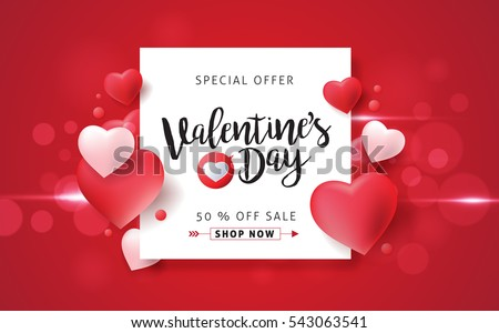 Valentines Day Sale Background With Balloons Heart Pattern. Vector  Illustration. Wallpaper, Flyers,