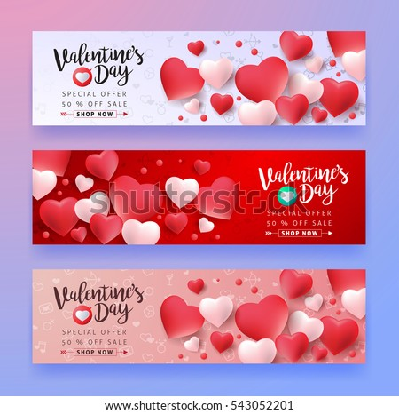 Valentines Day Sale Background With Icon Set Pattern. Vector Illustration.  Wallpaper, Flyers,