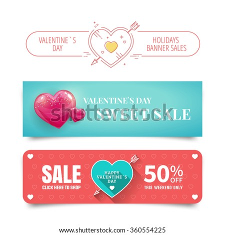 Valentines day Sale banners with heart. Vector illustration.  - stock vector