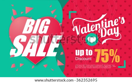 Valentines day sale inscription design template. Valentines day banner. Vector illustration