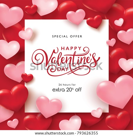 Valentines day sale poster with pink and red hearts background