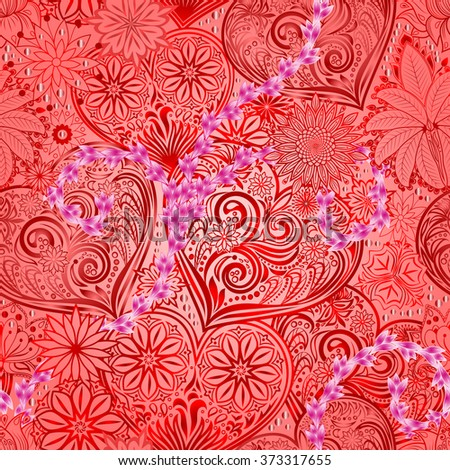 Valentines Day seamless background with hearts and flowers. Hand drawing floral motif vintage vector EPS-8 texture. The ability to change colors without loss of seamless.