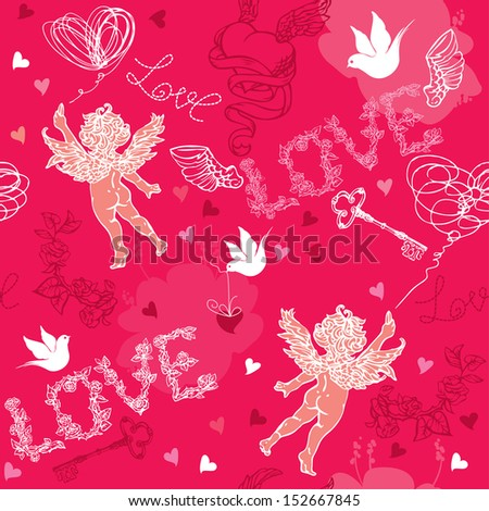 Valentines Day seamless pattern with Cupid, hand drawn hearts, keys and birds on red background. - stock vector