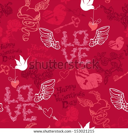 Valentines Day seamless pattern with hand drawn hearts, keys and birds on red background.  - stock vector