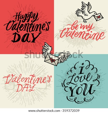 Valentines day typography and illustrations elements. Vector hand lettering set. Happy Valentines Day, be my Valentine, Love you.  - stock vector