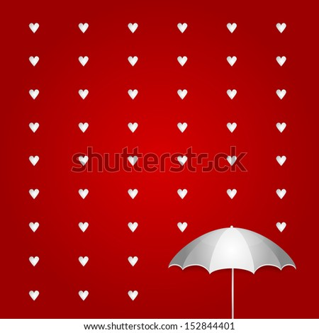 Valentines Day Umbrella and Heart Rain on Red Background