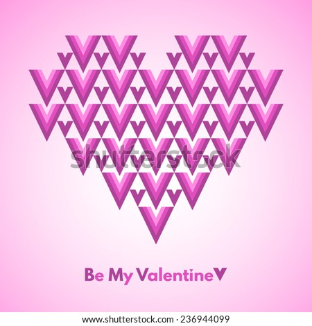 Valentines Day vector greeting card. Be My Valentine. Abstract geometrical heart with lettering. Pink colors. Conceptual, minimalist. - stock vector