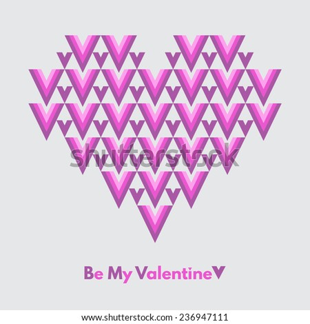 Valentines Day vector greeting card. Be My Valentine. Abstract geometrical heart with lettering. Pink and violet colors, light grey backdrop. Conceptual, minimalist. - stock vector