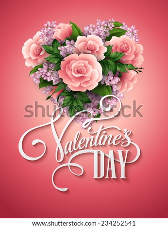 Valentines day vector illustration with a heart of beautiful flowers