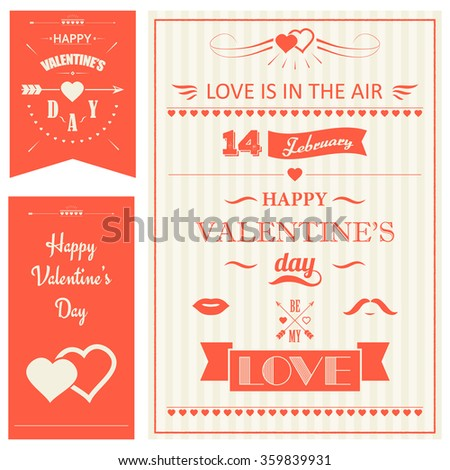 Valentines Day vector set Hearts Arrow - stock vector