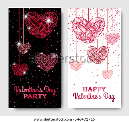valentines day vertical posters with twisted red hanging hearts vector illustration glowing invitation template