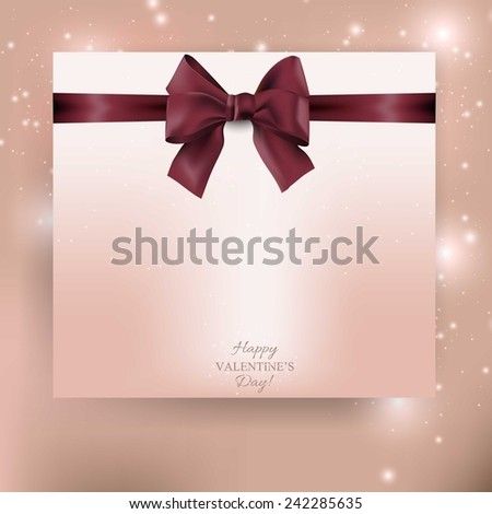 Valentines greeting card with bow and place for text.  - stock vector