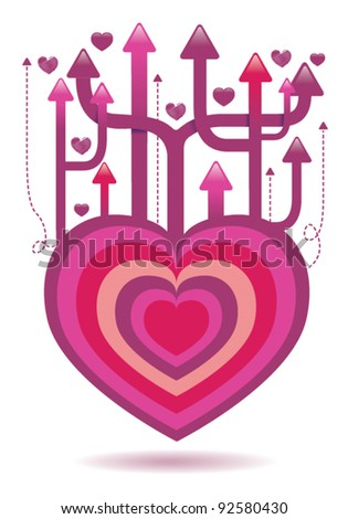 Valentines heart arrow illustration isolated on white - stock vector