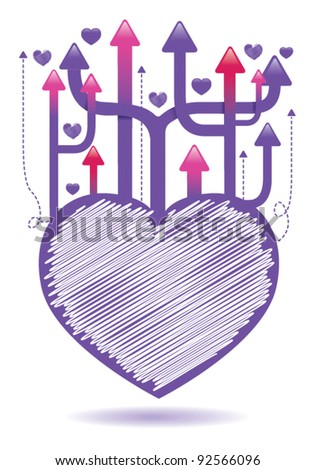 valentines heart with arrows 1 - stock vector