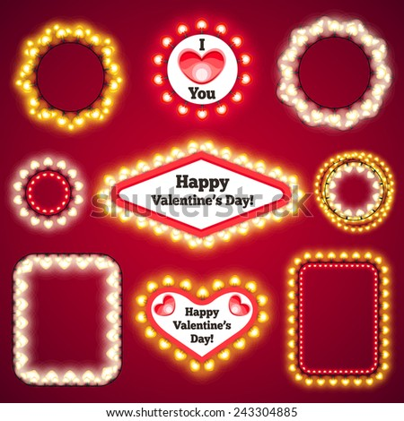 valentines lights decorations set3 for celebratory design used pattern brushes included