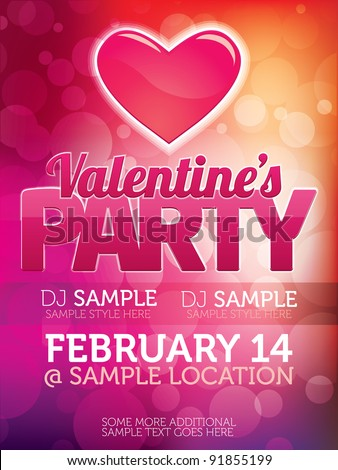 Valentines Party Flyer - stock vector