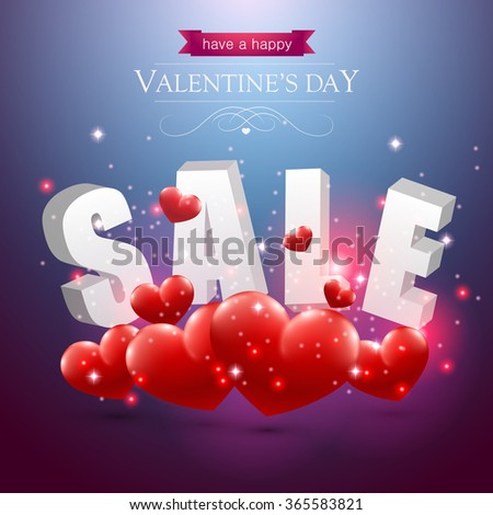 Valentines sale sign with red hearts on a blue background.  - stock vector