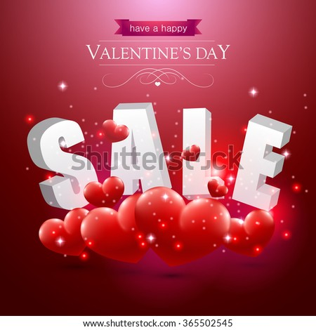 Valentines sale sign with red hearts on a red background. - stock vector