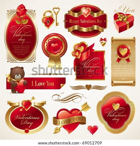 Valentines vector set with ornate golden luxury frames, hearts & objects - stock vector