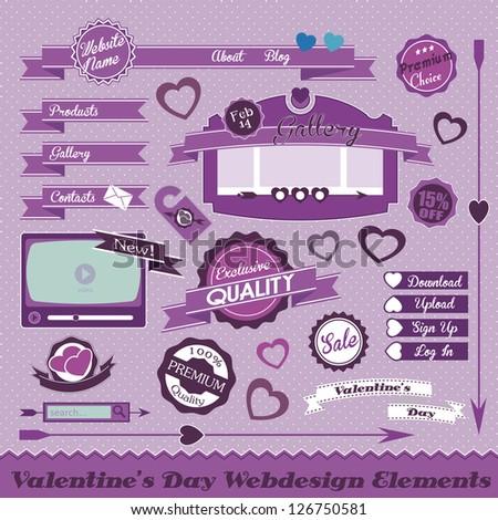 Valentines Website Elements - stock vector