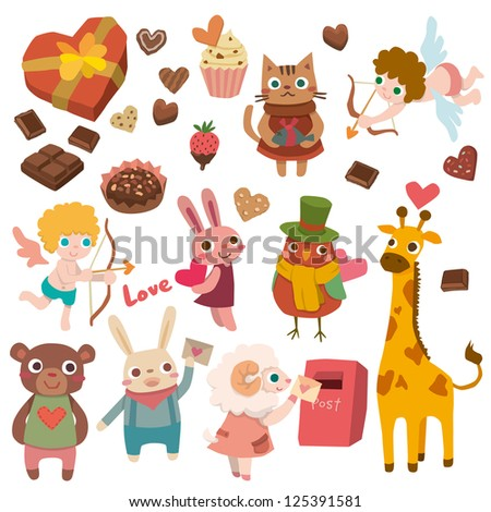 valentines with cute animals - stock vector