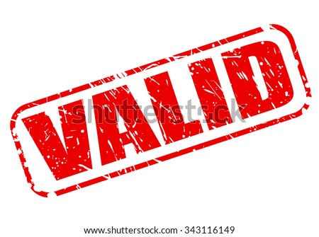 VALID red stamp text on white - stock vector