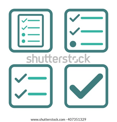 Valid vector bicolor icon. Image style is a flat icon symbol inside a square rounded frame, cobalt and cyan colors, white background. - stock vector
