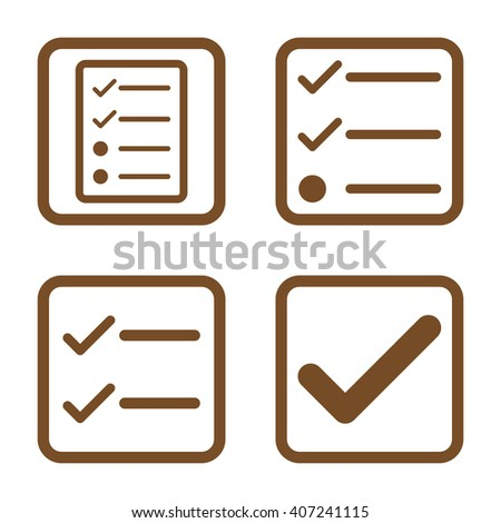 Valid vector icon. Image style is a flat icon symbol inside a square rounded frame, brown color, white background. - stock vector