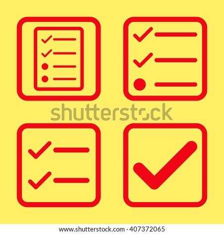 Valid vector icon. Image style is a flat icon symbol inside a square rounded frame, red color, yellow background. - stock vector