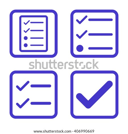 Valid vector icon. Image style is a flat icon symbol inside a square rounded frame, violet color, white background. - stock vector