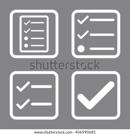 Valid vector icon. Image style is a flat icon symbol inside a square rounded frame, white color, gray background. - stock vector